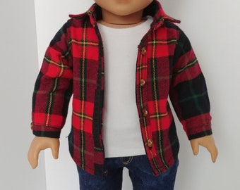 "18 inch boy doll clothing . Fits like American boy clothing. 18"" doll clothes .Long sleeve plaid top and tank top"