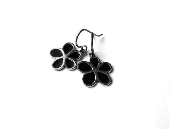 Black enamel and silver flower dangle earrings - Hypoallergenic pure titanium and stainless steel