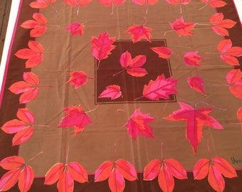 Vintage Vera Neumann Women's Scarf with and Fall Leaf Design, FREE SHIPPING