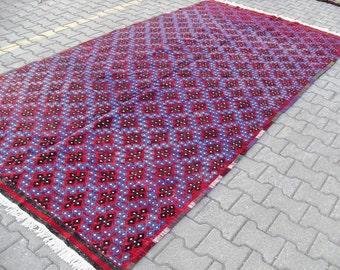 free shipping VINTAGE TURKİSH ousak cecim kilim Anatolian handwoven kilim rug decorative kilim - SİZE : 74'' X 140'' ( 185 cm X 350 cm)