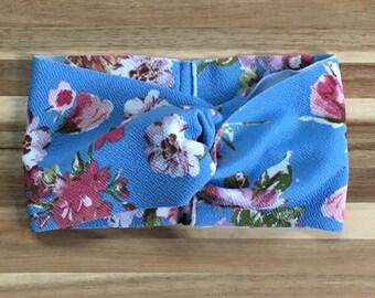 Sky Blue and Blush Floral Turban Headband, Adult Headband, Boho Headband
