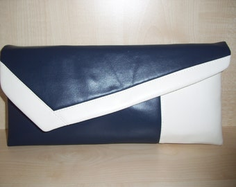 Navy blue and white faux leather clutch bag, lined, handmade, with clasp