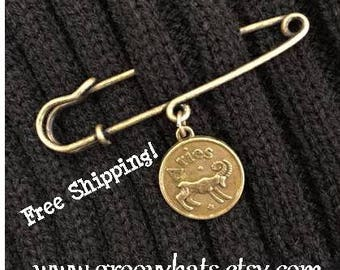 Zodiac Reversible Safety Pin Brooch - Antique Brass - Groovy Hats