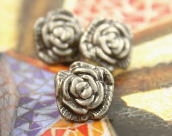 Metal Buttons - Camellia Metal Buttons , Gray Silver Color , Shank , 0.43 inch , 10 pcs