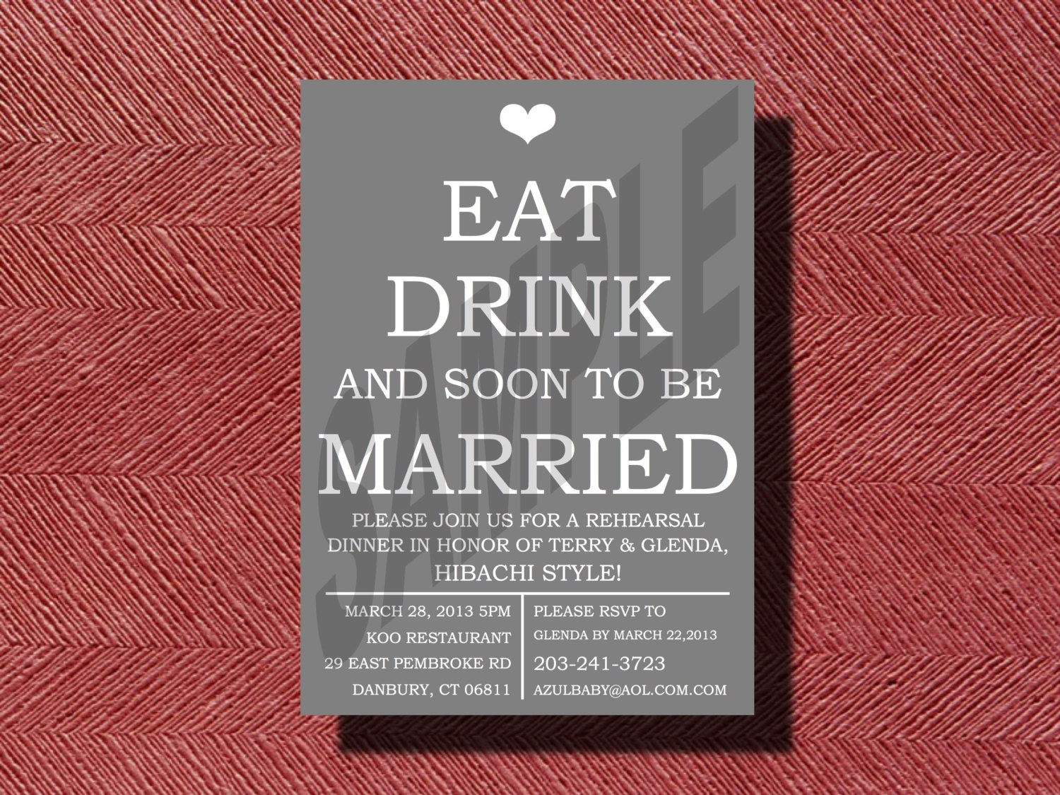 Fun Rehearsal Dinner Invitation DIY