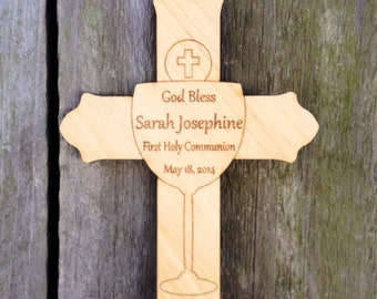 Personalized First Communion Gift: Personalized Communion Cross, Wood Cross, Wall Hanging