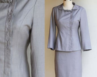 Vintage Womans 2-piece  Beige/Brown Suit, Blazer and Skirt set US Size 8