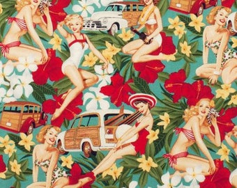 Aloha Girls Antique by Alexander Henry. Pin-up patterns. Cotton fabric, retro, vintage, pin-up
