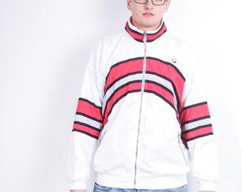 Topspin Mens M Jacket White Red Striped Pockets