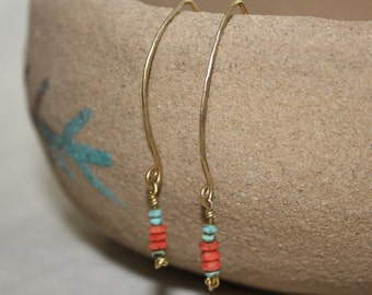 turquoise earrings coral earrings dangle earrings unique earrings earthy earrings simple earrings delicate earrings boho earrings everyday