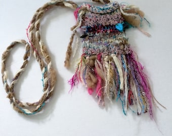 Pouch: Hand-Knit Beaded Boho Fantasy Fiber Fairy Treasure Amulet  Bag OOAK