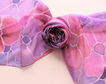 "Hand painted silk scarf. Handpainted silk scarf. Pink and purple silk scarf with flowers. 17 x 71"", 45 x 180 cm."