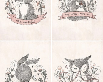 Four Little Whimsies - 5x7 Print Set