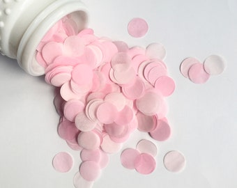 BLUSH PINKS tissue paper confetti circles wedding exit send off toss engagement photo prop flower girl petals cake dessert table decoration