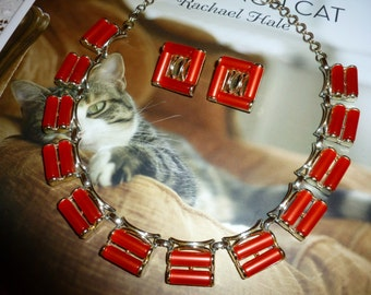 Vintage Charel Choker / Necklace And Clip Earring Set From The 1950's