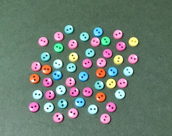 Dress it Up Tiny Round Tropical Buttons - Summer Button Stash - 5mm - Small - Tiny Buttons - Scrapbook, Sewing, Embellishments - Assorted