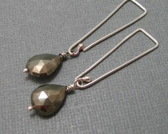 Silver pyrite briolette  drop earrings with handmade sterling ear wire, Long silver teardrop briolette dangle earrings