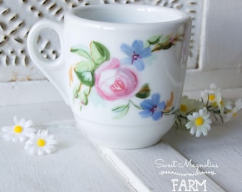 Antique Ironstone Hand Painted Floral Mug ~ Shaving Mug ~ Coffee Mug ~ Shabby Chic Cottage Style