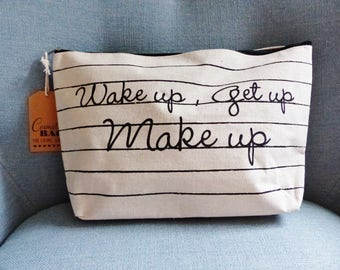 pouch makeup bag cosmetic wake up get up very large makeup Cosmetic bag for cosmic girl komatik