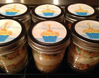 2 (8 oz) Happy Birthday Cake-Send Birthday Cake-Edible Gift-Mason Jar Cake-Birthday Cake in a Jar
