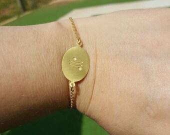 Moon glyphs gold plated brass chain bracelet