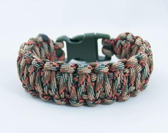 Camouflage Bracelet, Hunting Gift, Paracord Bracelet, Mens Bracelet, Orange Camo, Green Camo, Woodland Camo, Rustic Gift, Hunter Bracelet