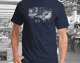 Volkswagen Transporter Blueprint T-shirt.  Full front print on a 100% cotton preshrunk Tee. Navy Shirt with White screen print.