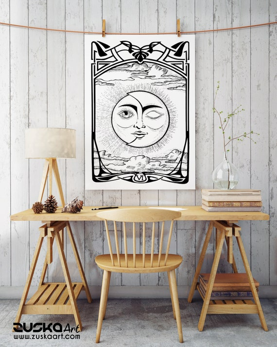 The Lovers VI Tarot Card | Enhanced Matte Paper Poster | Sun and Moon | Solar Eclipse | Original artwork archival | Ink drawing | ZuskaArt