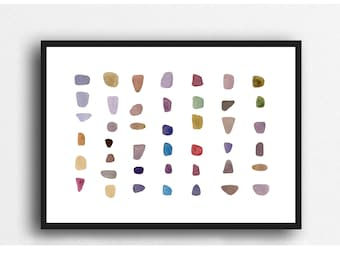 pebble art, Abstract watercolor painting, zen decor, abstract painting pebbles, minimalist home decor