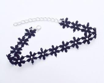 Black Flower Anklet