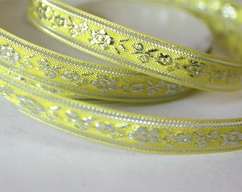 1 meter Ribbon lace fabric embroidered with silver threads 1.1 cm wide
