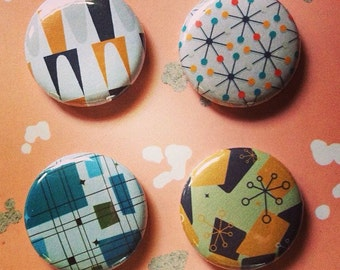 Mid Century Patterns 1 inch badge set of four