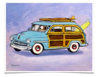 woody station wagon. fine art print. surfer. beach. car. ocean. surf. woodies. wood paneled auto. beach buggy. beach boys. surf's up.