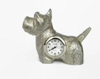 1998 Timex Scottish Terrier Mini Desk Clock Collectible Silver Metal