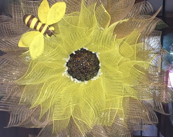 Sunflower with beaded center.