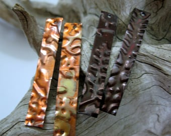 COPPER EMBOSSED PLANKS 1 1/2 Inch x 1/4 Inch Connectors, You get 2