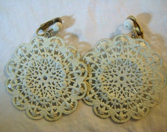 """Vintage Drop Earrings, 1960s Round White Enamel Brass Filigree Medallion Clip Ons, 52mm (approx. 2""""), 1 pair"""