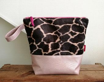 "Project bag large ""Giraffe"", Leukgemaakt, knitting project bag, fur, knitting or notions bag, gift for her, woman, birthday, Christmas"