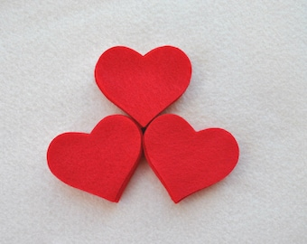 25 Piece Die Cut Felt Hearts, Reds, Small 2 inch