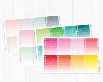 Weekly Sidebar stickers/label/planner stickers /ECLP/erincondren life planner/multicolor functional/rainbow/pastel/neutral