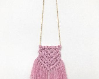 Dusty Rose Cotton Boho Macrame Necklace 3mm