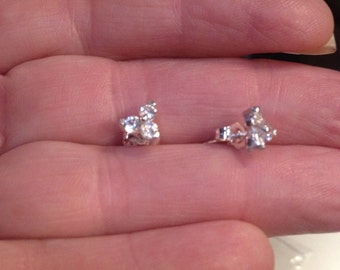 3 Cluster White Sapphire Earrings