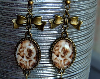 Earrings / dangling / cabochon, brass, Sepia, Vintage Roses.