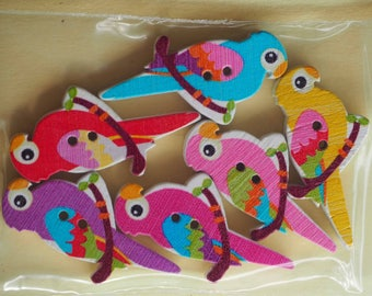 6 buttons wood Parrot bird 35x17mm 6 varied and different colors, sewing, scrapbooking, deco, custumisation...