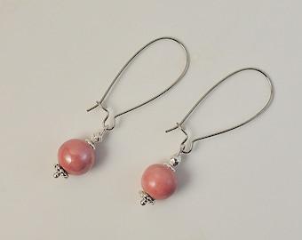 Pearl Earrings pink ceramic and metal