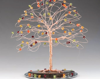 """Fall Tree Wedding Cake Topper 7"""" x 7"""" with Genuine Swarovski Crystal Elements choice of Silver Gold Copper"""