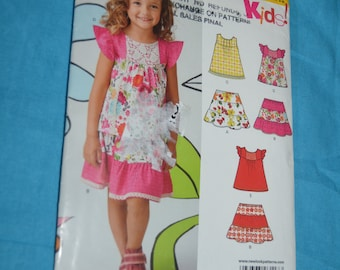 New Look 6117 Girls Dress or Top and Skirt Sewing Pattern UNCUT  Size 3 - 8