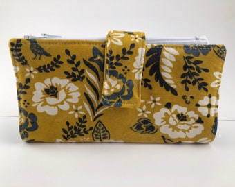 Dave Ramsey Style Cash Envelope System Wallet (Mustard Floral  and Blue Bees) 4 zipper