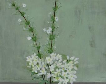 White Spring Flowers - Original Painting by Elizabeth Bauman