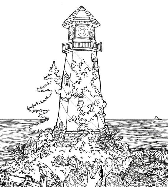 Faro en la playa pluma y tinta ilustración impresión blanco y